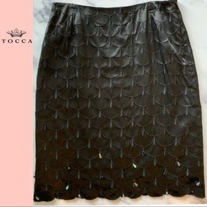 Tocca Black Silk Embroidered Crystal Beaded Skirt